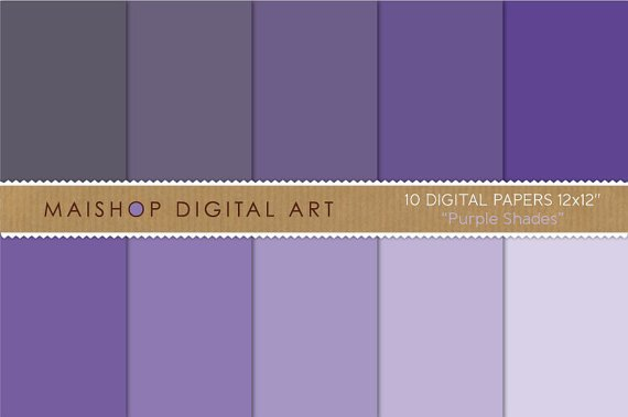 Solid Color Digital Paper - Purple Shades