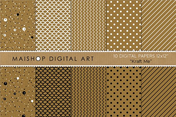 Kraft Digital Paper-Kraft Me-BrwWh Blk print Digital SheetsCardsTagsBookmarks