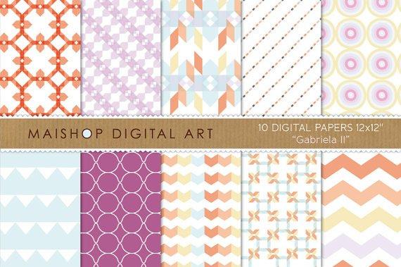 Digital Paper-Gabriela II-Geometric,Chevron,Stripes,Triangles,Abstract print Backgrounds