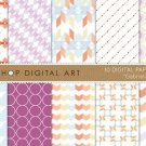 Digital Paper-Gabriela II-Geometric,Chevron,Stripes,Triangles,Abstract print Backgrounds