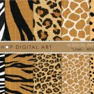 Digital Paper Linen-Africa Skins-Digital Paper-ZebraTigerLeopardGiraffe Guepard PatternsCard Making