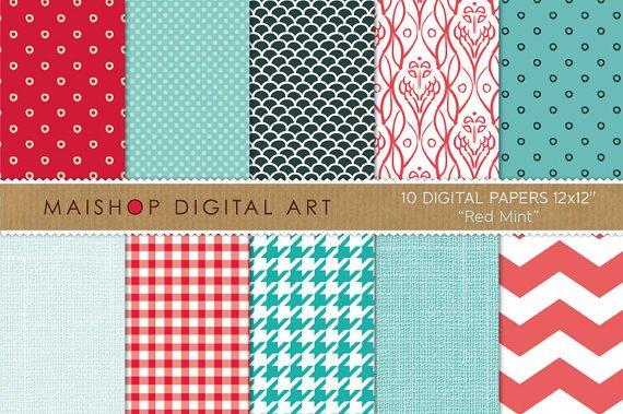 Digital Paper-Red Mint-LinenFish ScalesHoundstoothChevronPolka DotsDigital for Cards