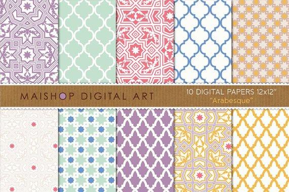 Digital Paper-Arabesque-LilacMintRedBlueYellowMoroccan Tiles Mosaics PatternsCard Making