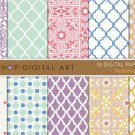 Digital Paper-Arabesque-LilacMintRedBlueYellowMoroccan Tiles Mosaics PatternsCard Making