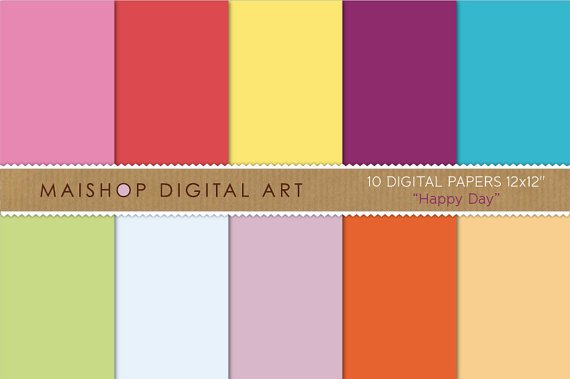 Solid Color Digital Paper-Happy Day-Pink,Red,YW,Purp,Blu,Grn,Celeste,Lilac ,Org Backgrounds