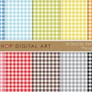 Gingham Digital Paper-Picnic-BluGrnYW,OrgPinkRed,BrwGray Black Vichy Squares print Sheets