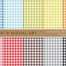 Gingham Digital Paper-Picnic-BluGrnYW,OrgPinkRed,BrwGray Black Vichy Squares print Sheets