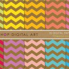 Digital Paper-Chevron on Kraft II-GrnYW,OrgPinkRedPurpAqua Turquoise Chevron PatternsDesign