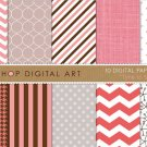 Digital Paper-Time to Sleep-PinkGrayChocolateBrwPolka DotsChevronStripesLinenHeartsHoundstooth