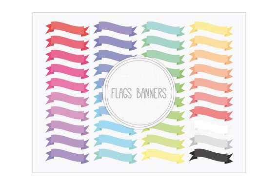 Flags Ribbon Banners Clip Art-Digital Banners for CardsBaby ShowersWebsBlogsScrapbookingTags