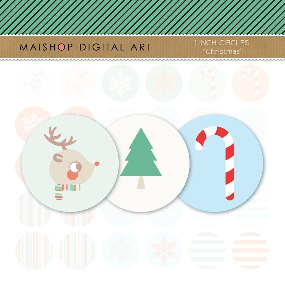 1' Digital Collage Sheet Circles - Christmas