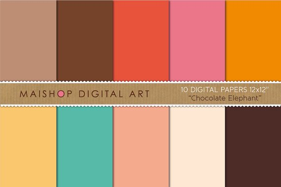 Solid Color Digital Paper - Chocolate Elephant