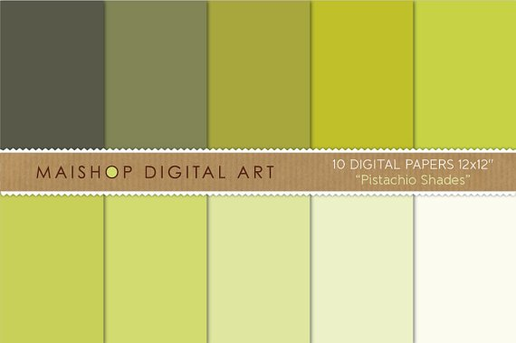 Solid Color Digital Paper - Pistachio Shades