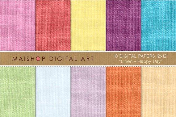 Digital Paper Linen-Happy Day-Pink,Red,YW,Purp,Blu,Grn,Celeste,Lilac ,Org