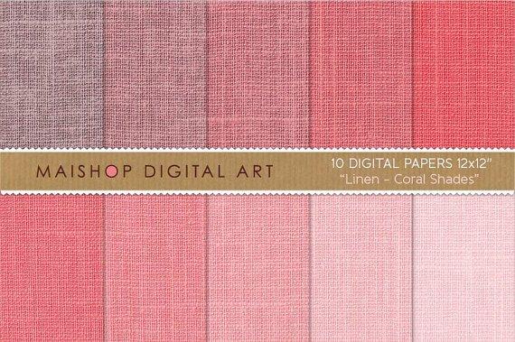 Digital Paper Linen-Coral Shades-Linen Texture BackgroundsingCollages