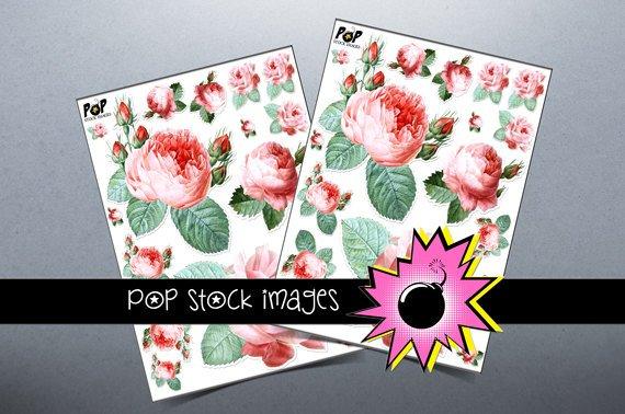Victorian Roses Digital print Sticker Sheet-Print StickersingAltered ArtCards