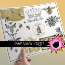 Bees & Beekeeping-Honey-Queen Bee Collage Sheet-Digital Img. of Bees Bee Hives-