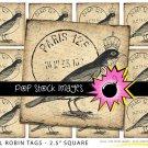 Royal Robin French Digital print Tags