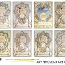 VINTAGE Mucha Art Nouveau Art Cards ATC ACEO Backgrounds