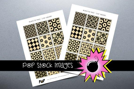 Black Tie Digital Printable Tags - Print Your Own Tags - vintage print