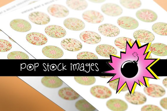 1 Inch Rounds Mint Melon Floral Ornaments Collage Sheet-PendantsMagnets
