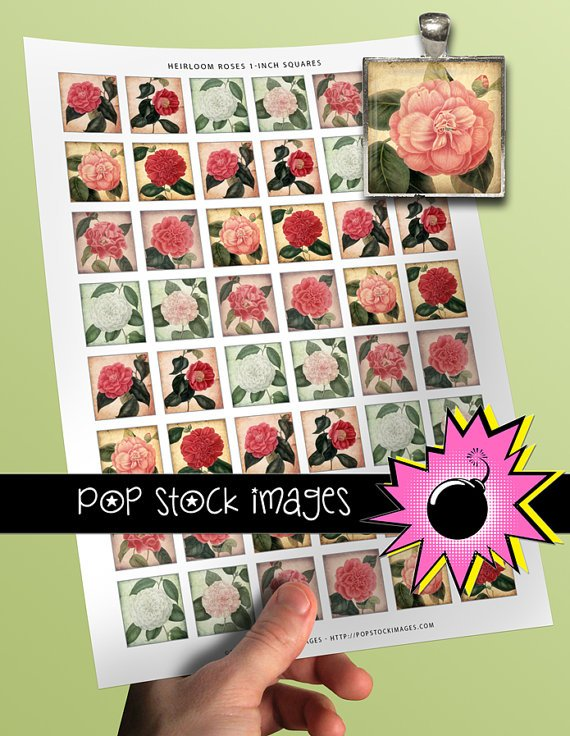 1 Inch Squares HEIRLOOM ROSES Collage Sheet-print for PendantsMagnets