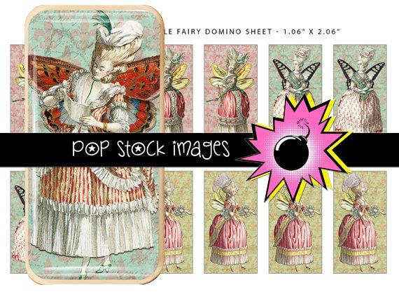 Marie Antoinette Style Fairies Digital Domino Collage Sheet-print Tiles for Pendants