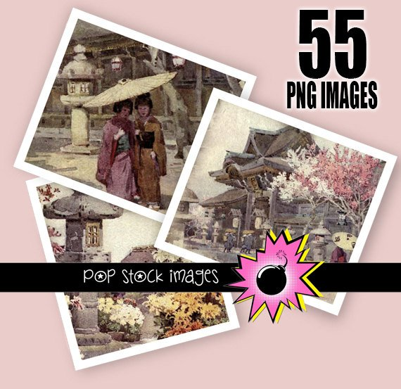 Japanese Garden-Cherry Blossom-Pagoda Garden-Digital Img. for JewelryCrafts & Scrapbooking