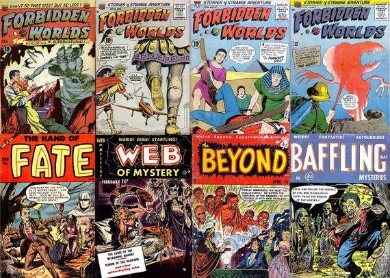 DVD Gold Age HORROR STRANGE Tales Comics Forbidden Worlds Web Of Mystery Ajax Farrell