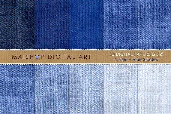 Digital Paper Linen-Blue Shades-NavyBlueberryDenimDigital s for Online ScrapbookingGift Wrapping