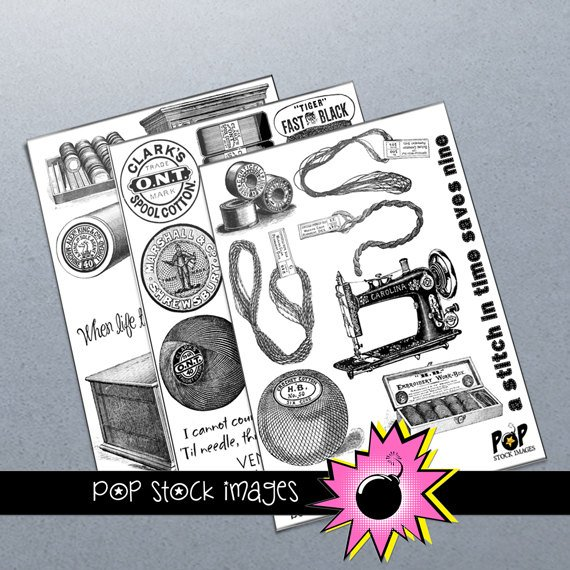 SEWING NEEDLECRAFTS Digital Img.-Set of 3 Collage Sheets of Sewing Img.-Digital Scrapbooking-