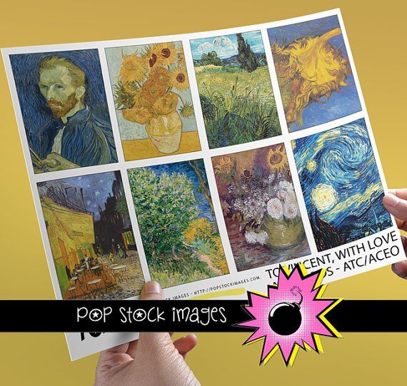 Vincent Van Gogh Paintings for ATC ACEO-Collage-Altered Art-Journaling Cards-Digital Scrapbooking