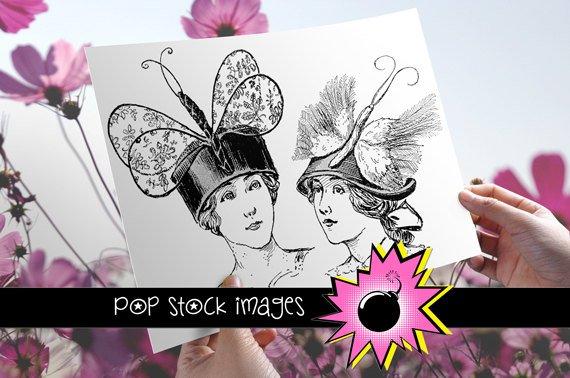 Spring Bonnet Ladies Transfers-VIctorian Ladies in Spring Hats Img. to Print