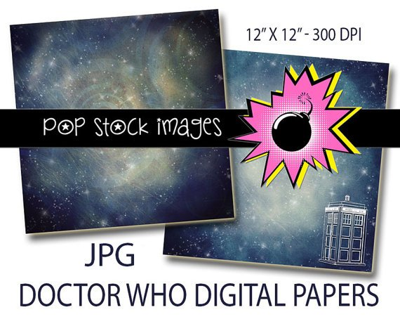 DOCTOR WHO Paper-Digital Paper 12x12-TARDIS-Digital Scrapbook Paper-Digital Paper