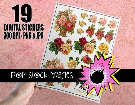 Victorian Rose Basket Digital print Sticker Sheet-19 Digital print Rose Stickers-Print