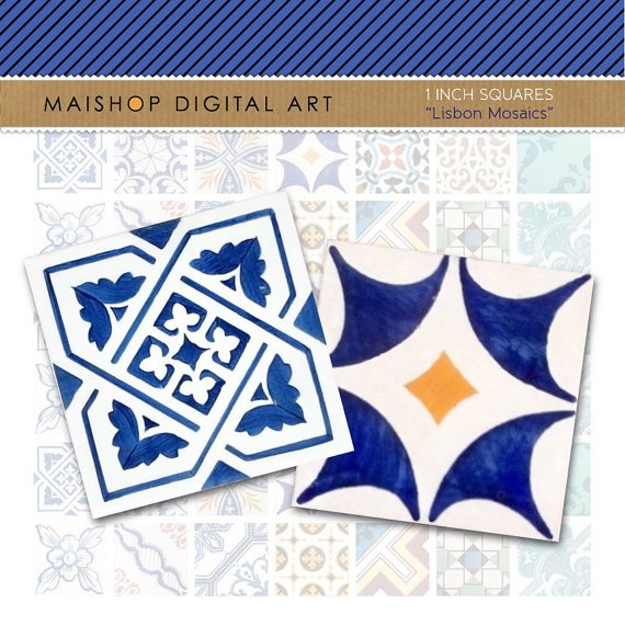 1' Digital Collage Sheet Squares Lisbon Mosaic Tiles - Portuguese Azulejos