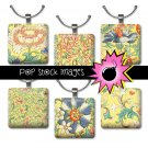 1 Inch Squares Yellow Blue Flowers Collage Sheet