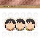 1.5' Digital Collage Sheet Circles - Japanese Kokeshi Dolls Portrait