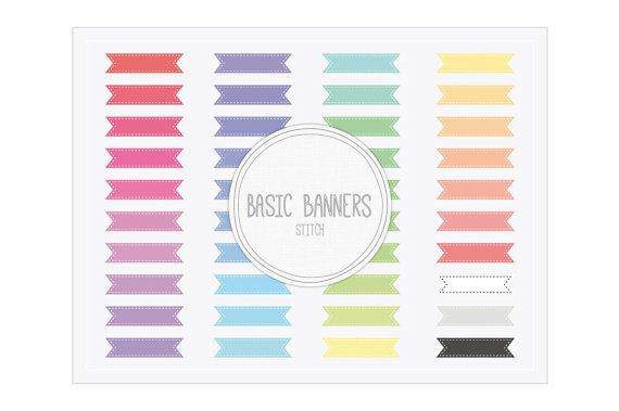 Basic Ribbon Banners Stitch Clip Art