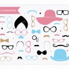 Moustaches Clip Art - Mustaches Party Set - Accessories