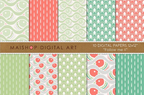 Digital Paper - Follow me II - Grn, Red, Wh able Patterned Papers for Cards