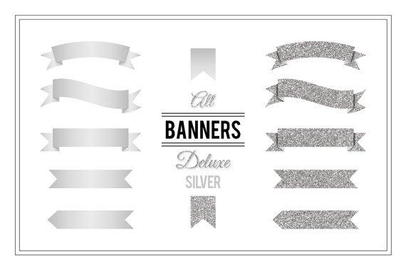 Banner Clip Art-Silver Glitter PNG Banners Digital for Web DesignScrapbook