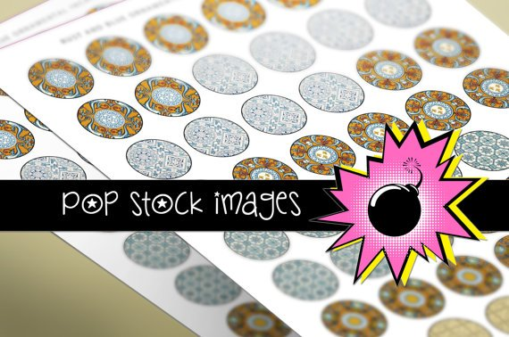 1 Inch CIRCLES Blue Rust Ornamental Collage Sheet-print for PendantsMagnets