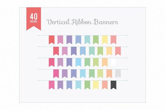 Vertical Ribbon Banners Clip Art