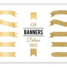 Ribbon Banners Deluxe Gold-Clip Art-Golden Glitter Digital Banners for CardsScrapbookingWeb