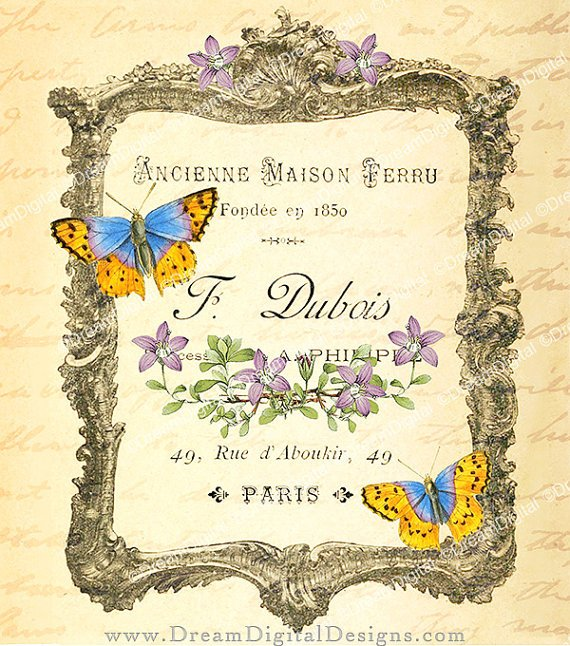 French Ephemera Printable Image Paris Ad ,  Print Design