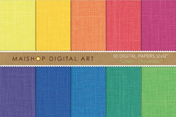 Rainbow Digital Paper Linen-Chromatic-Scrapbook Paper Pack print,Greeting Cards