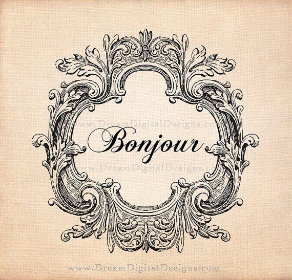 Printable Image, Bonjour Kitchen Art, Vintage Graphics, Digital