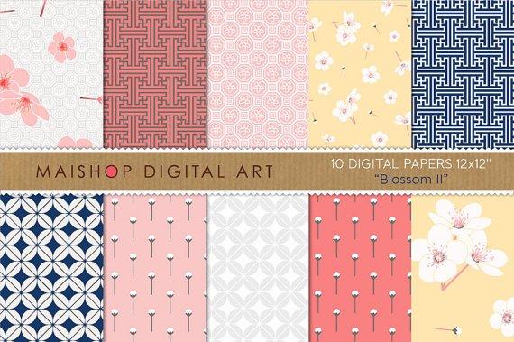 Digital Paper 'Blossom II' FloralGeometricChinese Digital Img.CardsGift Tags