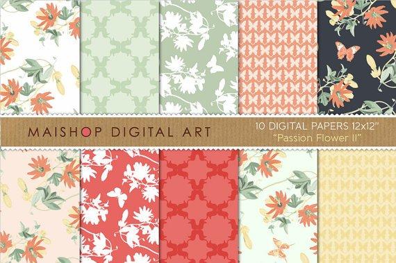 Digital Paper-Passion Flower II-PassifloraButterfliesGeometric Papersfor CardsCraftsScrapbook